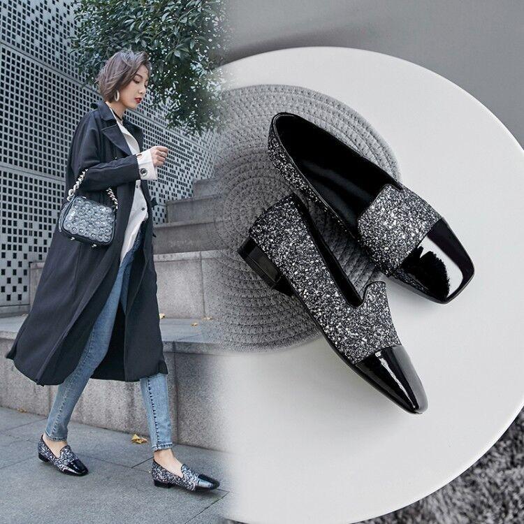 Mujer británica con Paillettes en Punta rojoonda Bloque Bajo Tacones Tacones Tacones Zapatos Náuticos Cuero Mocasines OL  tienda en linea