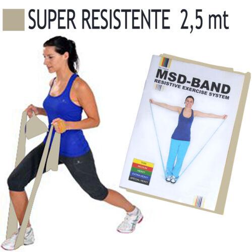 Msd FASCIA ELASTICA ARGENTO 2,5 mt SUPER RESISTENTE Lattice Band Pilates Banda