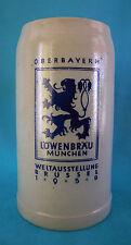 """Grande chope a bière en grès émaillé 1 litre bière """" LÖWENBRÄU"""