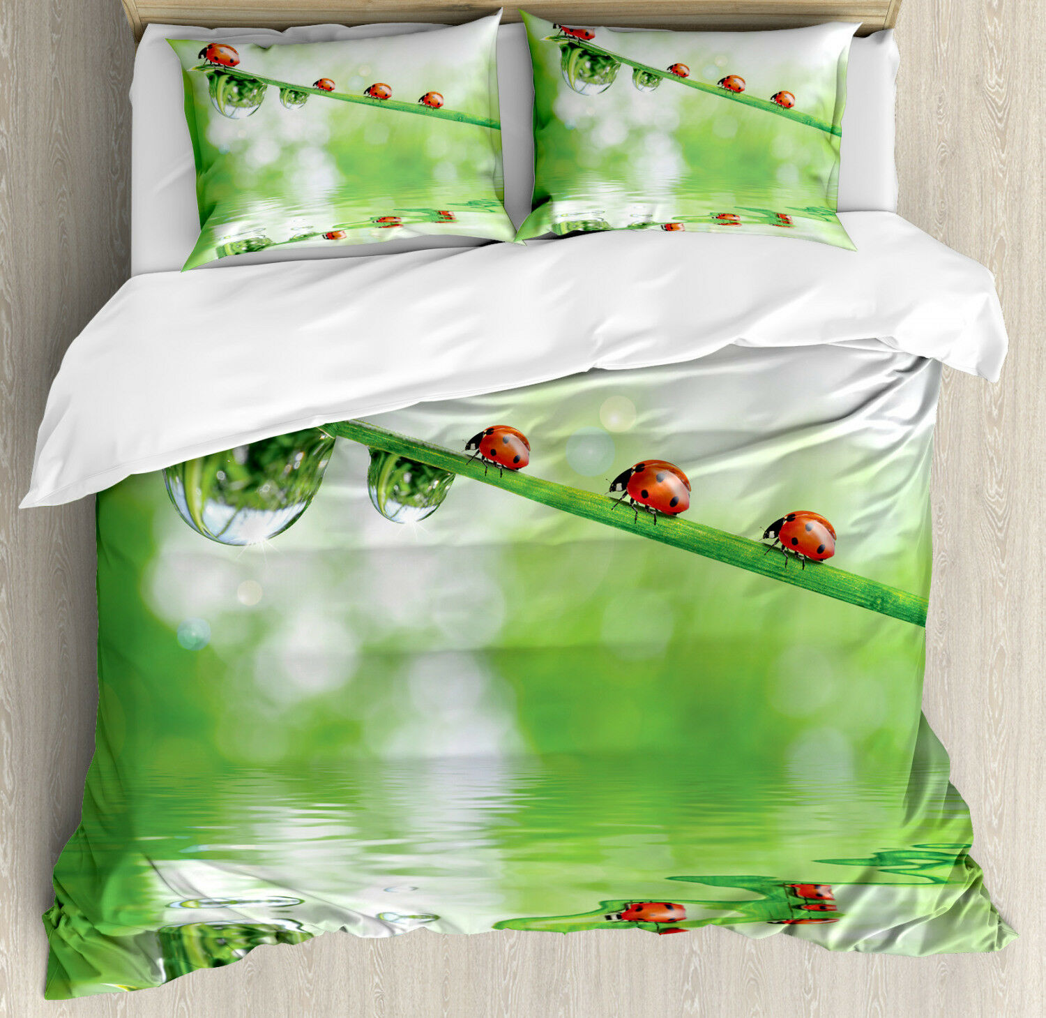 Nature Duvet Cover Set with Pillow Shams Ladybug on Water Image Print
