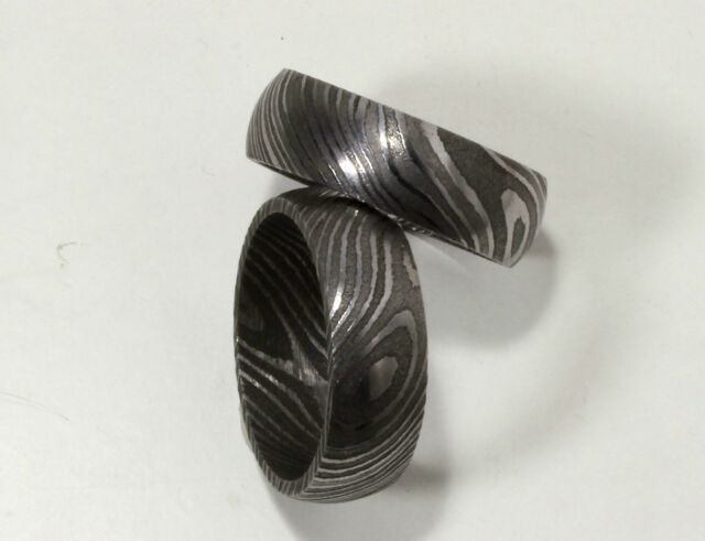 Hand Made Damascus Steel Rings- Band-Pendant