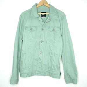 Routine Mens Pale Green Button Up Denim Jacket Size XL