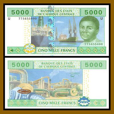 Central African States UNC /> Seaport Cameroun 5000 Francs Plant P-209U 2002