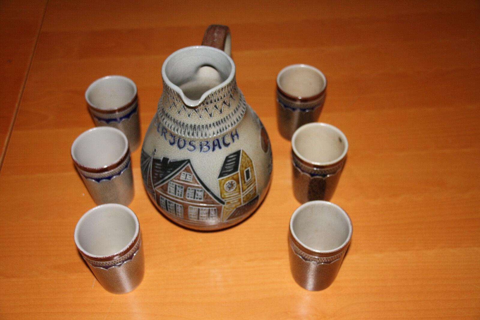 Original hessischer steingut apfelwein saftkrug mit 6 bechern, handarbeit