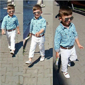 2dfba0038fda 3PCS Baby Boys Plaids Shirt + White Pants +Belt Set Kids Casual ...