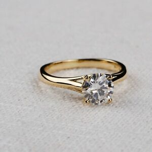 1.00 Ct Round Cut Real Moissanite Engagement Rings 18K Solid Yellow Gold Size 7