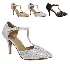 Damens's Sparkling Glitter Rhinestone Pointed Toe Dress T Strap Heel Dress Toe ... 576b2e
