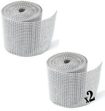 2 Pack 20 Yards Silver Diamond Mesh Wrap Roll Sparkle Rhinestone Crystal Ribbon