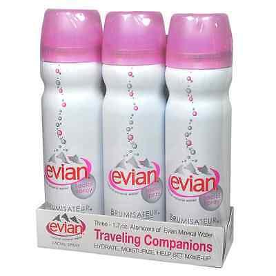 Travel Trio 3-1.7oz 50ml evian Facial Spray natural mineral water Moisturizes