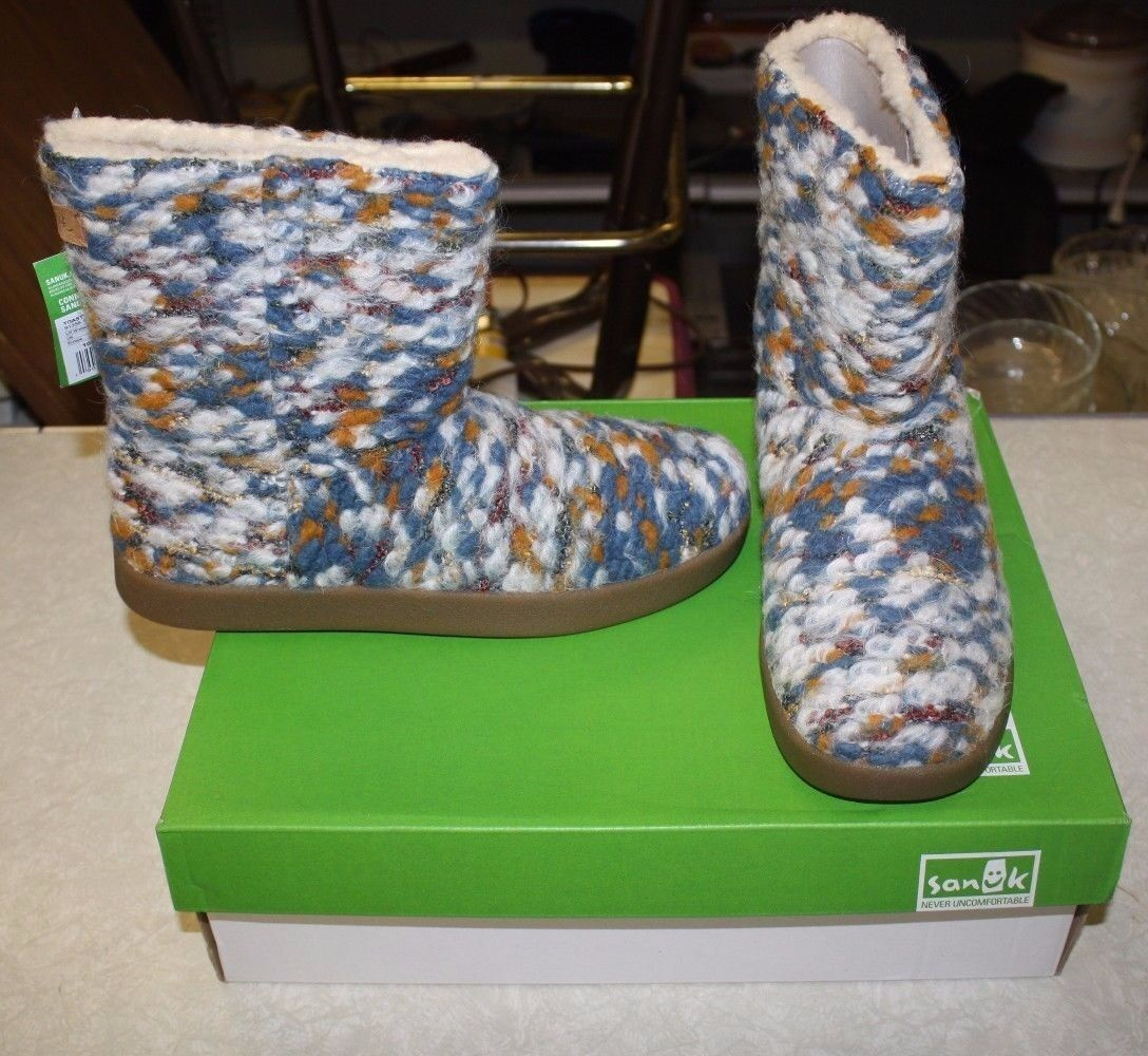 SANUK TOASTY TAILS KNIT BOOTS SIZE WOMENS 9 TEAL SPECK FREE SHIPPING NEW IN BOX