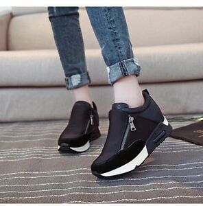 ffac7fed2706 Casual Women s Sneakers Zip Wedge Hidden Heel Running Sport Shoes ...