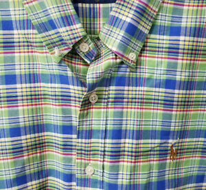 Ralph-Lauren-Polo-Long-Sleeve-Button-Front-Shirt-Mens-L-Large-Blue-Green-Plaid