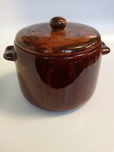 Vintage West Bend USA Brown Glaze Bean Pot or Cookie Jar Crock Pottery