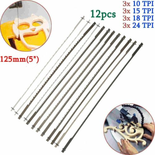 """Pinned Scroll Saw Blades Woodworking Power Tools Accessories 12x 5/"""" 127mm"""