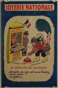 Affiche-Loterie-Nationale-DETECTION-DES-RICHESSES-1957-illustr-PRUVOST