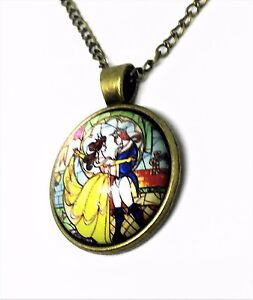 Beauty-Beast-Pendant-Necklace-Chain-Bronze-Glass-Cabochon-Dome-New-FREE-GIFT