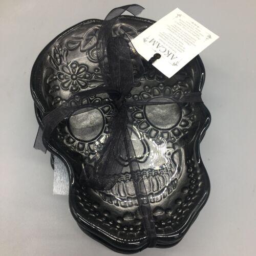 4 Akcam Silver Sugar Skull Glass Plate Set Appetizer Dessert Halloween Day Dead