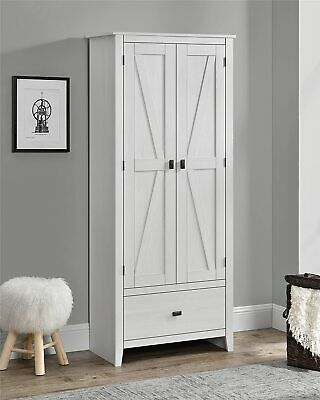 Rustic Off White Farm 30 Wide Storage Cabinet Shabby Large 72 H Kitchen Pantry Ebay
