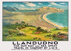 TX441-Vintage-LMS-LLANDUDNO-Wales-British-Railway-Travel-Retro-Poster-A3-A4
