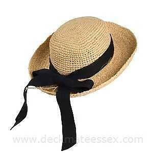 SCALA~ORGANIC CROCHET RAFFIA STRAW *HERRINGBONE BOW* BRAIDED SUN BEACH HAT~RARE