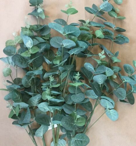 Artificielle Fausse verdure 3 x vert longue tige Eucalyptus Tiges Feuilles