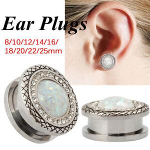 StainlessSteel Crystal Screw Ear Gauges Flesh Tunnels Plugs Stretchers ExpanderG