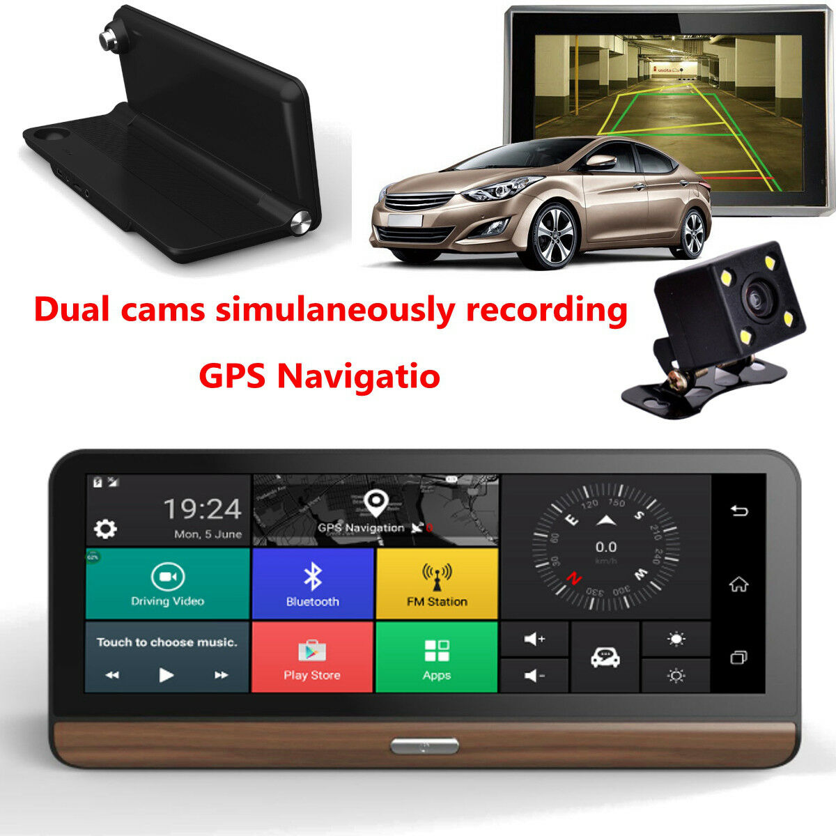 s-l1600 7'' 4G Dual Lens Car Camera Recorder DVR Dash Cam Rearview GPS + American Map