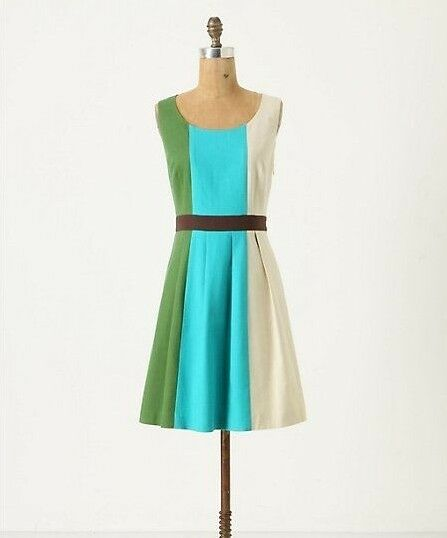 Anthropologie Glanz Dress NWT 4 Fit & Flare Tri-color