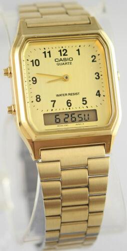 1 of 1 - Casio AQ-230GA-9B Men's Gold Stainless Steel Watch Digital Ana Alarm Stopwatch