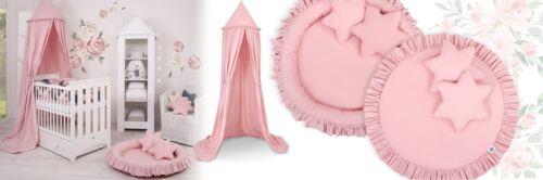 Spielmatte mit Rüsche rosa Kinderspielzelt Betthimmel Baldachin Hängezelt