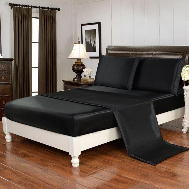 4 Piece Bed Sheet Set Satin Silky Deep Pocket Queen Full King Free Straps, Black