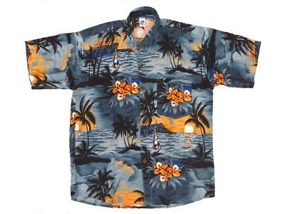 Vintage Hawaiian Manga Corta Festival Fiesta Camisa Negra