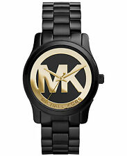Michael Kors MK6057 Mini Runway Black Gold Logo Watch 34MM BRAND NEW AUTHENTIC