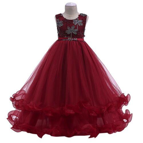 FLOWER GIRL Long Robe Longue pour Enfants Mariage Fête demoiselle d/'honneur Sequins Tulle robe