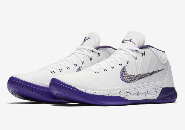 more photos 9039a 89322 NIKE KOBE AD MEN S BASKETBALL SHOES WHITE COURT PURPLE BLACK 922482 100