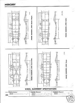 1966 Mercury NOS Frame Dimensions Front Wheel Alignment Specs