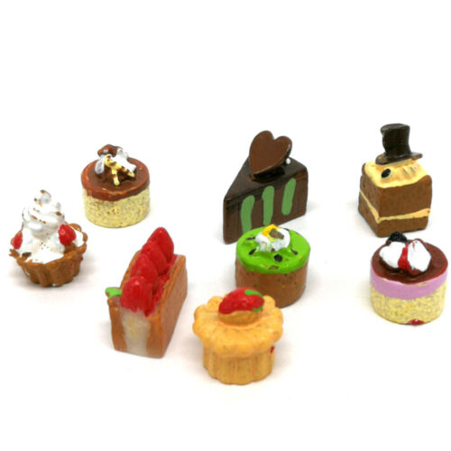 8Pcs Dollhouse Miniature Food Chocolate Strawberry Cakes Cupcake Toys PLF