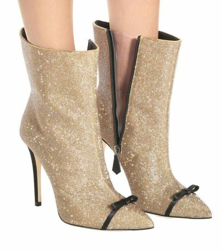 femmes Pointy Toe Stilettos Bowknot Zipper Winter Rhinestone Ankle bottes chaussures