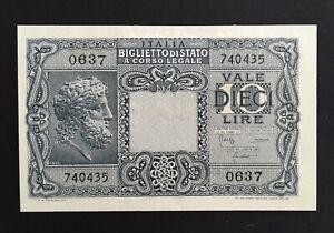 ITALY 10 LIRE 1944 P 32 AUNC about UNC