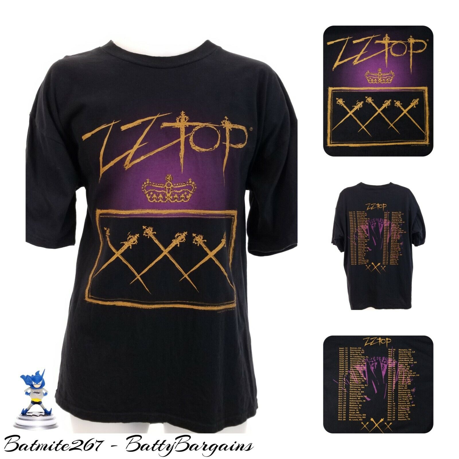 VTG ZZ Top 1999 XXX Tour XL 90s  S S TEE SHIRT Official Concert T