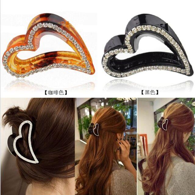 Retro Fashion Cute Heart Shape Crystal Rhinestone Hair Claw Clip Hairpin Clamp