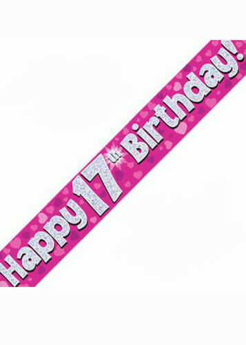 Pink Holographic Happy 17th Birthday Banner