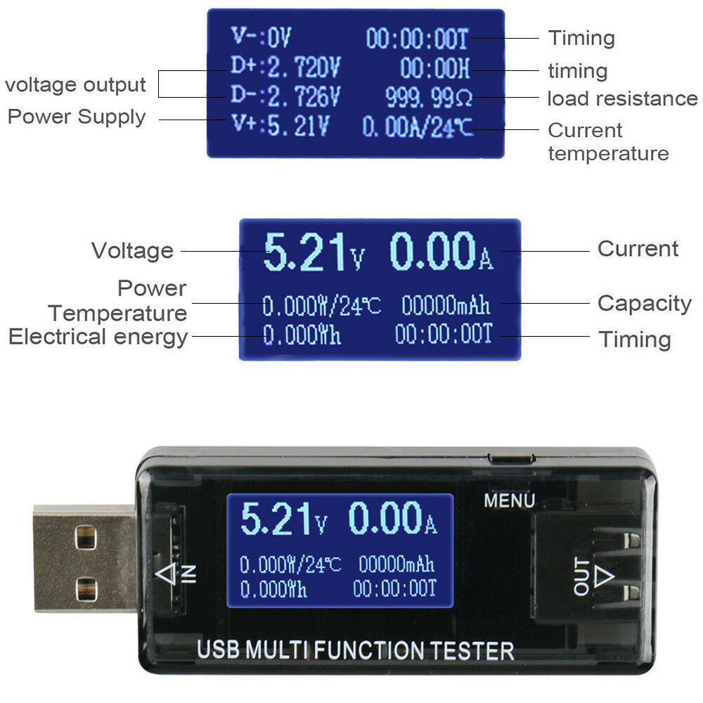Pomya Tester Capacity Mini USB Voltage Current Monitor Tester Capacity Detector with LCD Display Battery Monitor