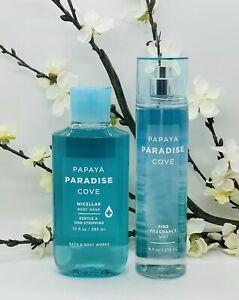 Bath and Body Works Papaya Paradise Cove Body Wash, Fine Fragrance Mist 2-Pc Set