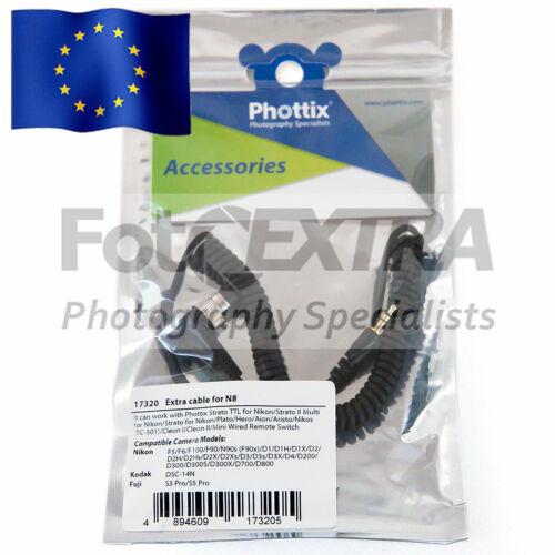 Phottix N8//DC0 Cámara Disparador Remoto Cable Cable Para Nikon//Fuji//Kodak
