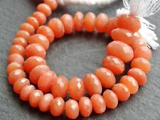 """HAND FACETED PEACH MOONSTONE RONDELLES, graduated 6mm - 9mm, 9.5"""", 40+ beads"""