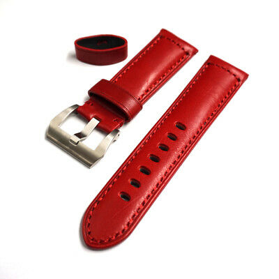 24/22mm With Buckle Fits Your Panerai Relojes, Recambios Y Acces. Expressive Red Leather Strap In 24mm
