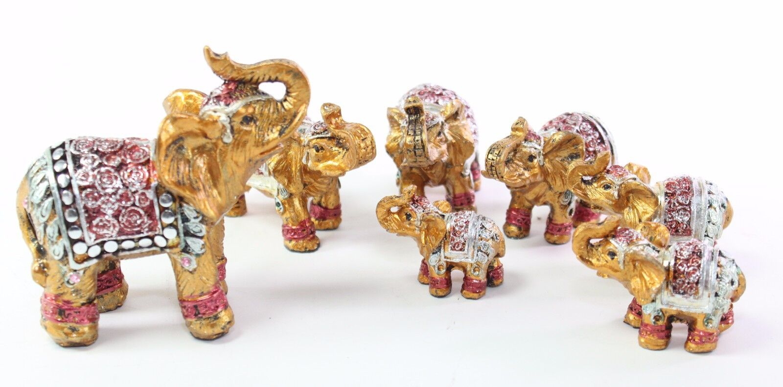 Feng Shui Set Of 7 Small Gold Elephant Family Statues