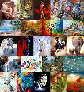 40-50cm-DIY-Acrylic-Paint-By-Numbers-kit-Oil-Painting-Canvas-Horse-Beauty-Flower