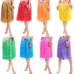 Hawaiian-Dress-Skirt-Hula-Grass-Skirt-With-Flower-Accessories-Adult-Costume-3C